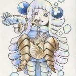 アノマロカリス擬人化 水彩色鉛筆(2014.12)