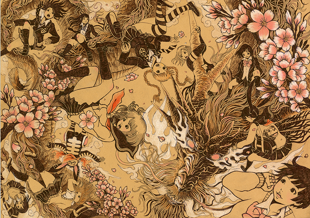 『日本国桜龍』カラーボード、ボールペン、色鉛筆(2013.3)