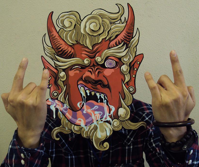『鬼の面』アクリルガッシュ(2013.2)